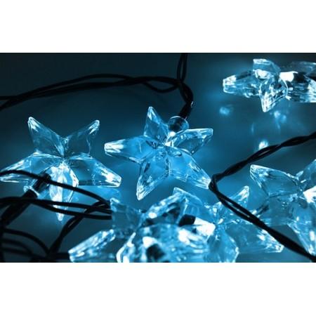 LED vánoční řetěz, hvězdy, 20 LED, 3m, přívod 3m, IP20, modrá